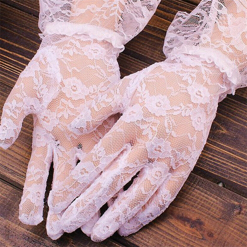 Elegant Ladies Full Finger Lace Gloves Girls Fashion Mittens Accessories Pink White Hollow Costume Prom Party Ball Dress Gloves