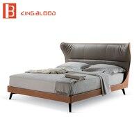 Italian designer leather king queen size bed frame design metal leg square bed for bedroom furniture