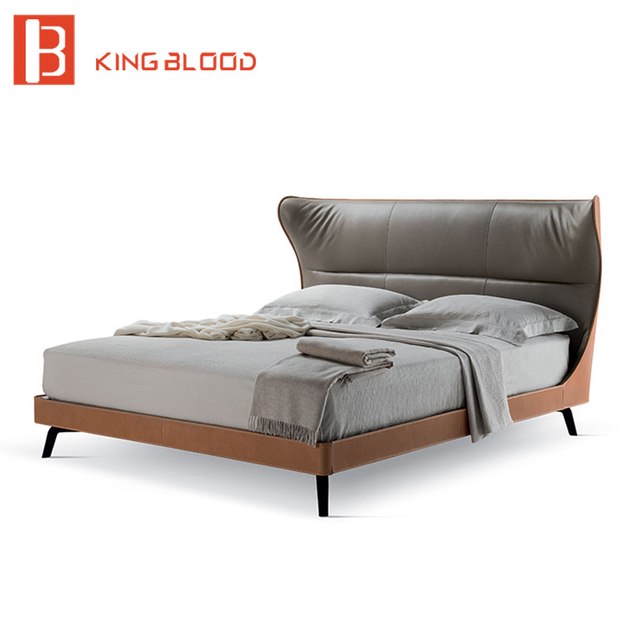 Latest Metal Leg Double Bed Design Leather Frame Italian Round For Bedroom Furniture