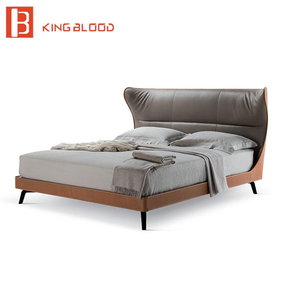 Ultime metallo gamba letto matrimoniale letto in pelle design telaio letto rotondo in pelle per camera da letto mobili italiani