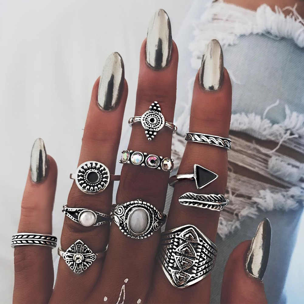 Bohemian 10pcs/Pack Vintage Blue stone Rings Lucky Stackable Midi Rings Set Knuckle Ring Rings for Women Jewelry Party