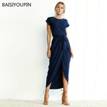 2019 Spring Summer Sexy Lady Short Sleeve Front Split Asymmetrical Dress Women Vintage Solid Pleated Lacing Ankle-Length Dresses