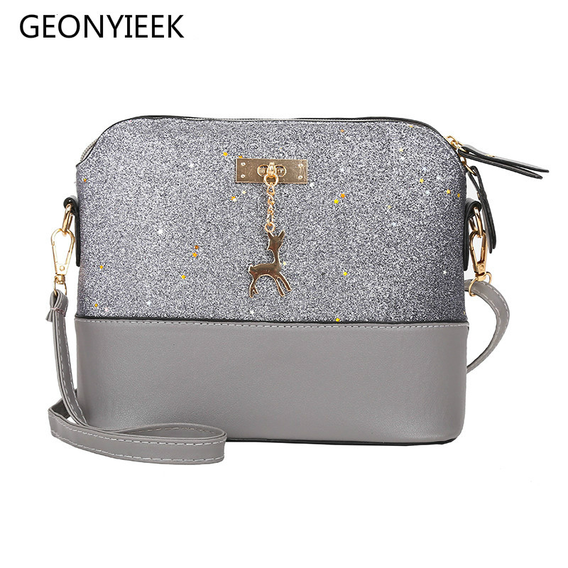 Vintage Sequins Splice Leather Women Bags Fashion Small Shell Bag With Deer Toy Women Shoulder Bag Casual Crossbody BagVintage Sequins Splice Leather Women Bags Fashion Small Shell Bag With Deer Toy Women Shoulder Bag Casual Crossbody Bag