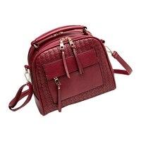 VSEN Knitting Women Handbag Fashion Weave Shoulder Bag Small Casual Cross Body Bag Retro Tote(Wine Red)