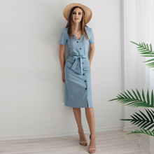Blue Vintage Button Bandage Dress Women 2019 Summer Short Sleeve Zipper Knee-Length Vestidos Elegant Office Ladies Summer Dress