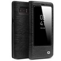 QIALINO For Samsung Note 8 Cases Smart View Flip Genuine Leather Window Cover For Samsung Note