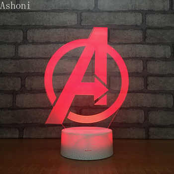 Marvel The Avengers 3D Table Lamp Captain Marvel Acrylic 7 Colors Changing Night Light USB Decorative Kids Toys Gifts