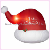 Hot Selling 7FT Giant Red Inflatable Christmas Hat With Light For Decoration