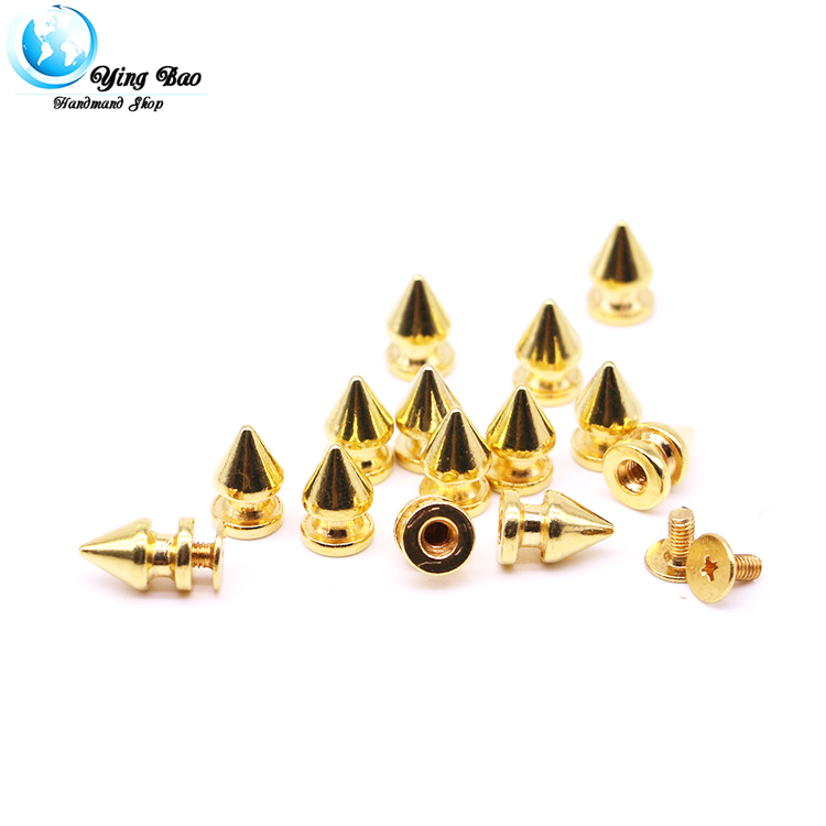 50sets/pack 8mm (Diameter), 12.4mm (Height)  spikes 8mm colorful spikes rivet accessories neon studs and spikes Gold rivet B-02
