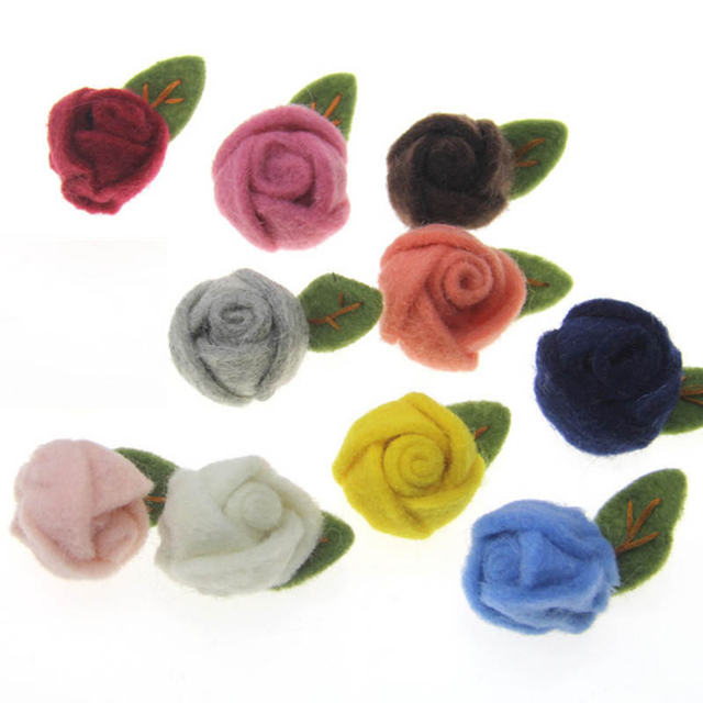 52693d09da9d0 US $5.7 20% OFF|5 PCs Handmade Rose Flower Wool Felt Poke DIY Kits Children  Hair Brooch Accessory Hat Dress Garment Crafts Decoration 5 cm Dia.-in ...