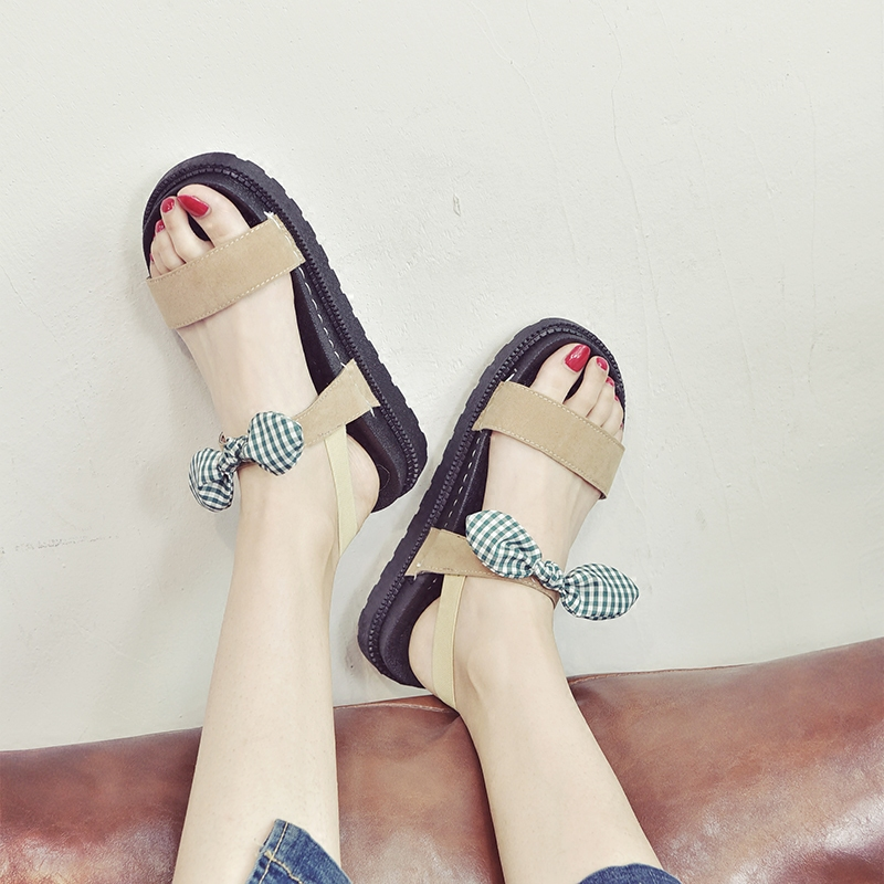 da75b70158a Arco Simple Pingdi Sandalias Grueso Playa Inferior Nuevas Mollete Estudiante  Zapatos Salvaje Romanos Sur 2018 Mujer Xia Del Corea qpZHxqS1