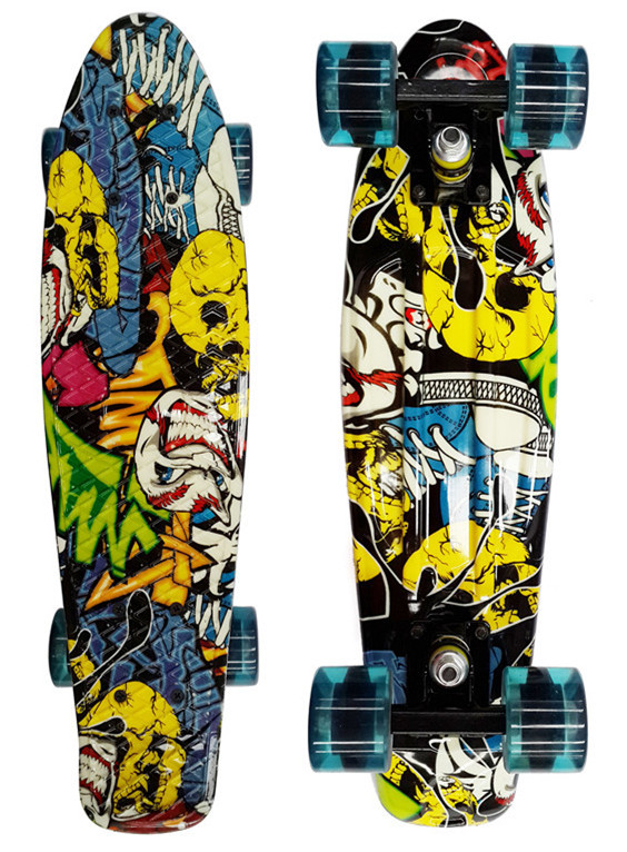 Penny Style Skateboard Complete Retro Girl Boy Cruiser Mini Longboard Skate Fish