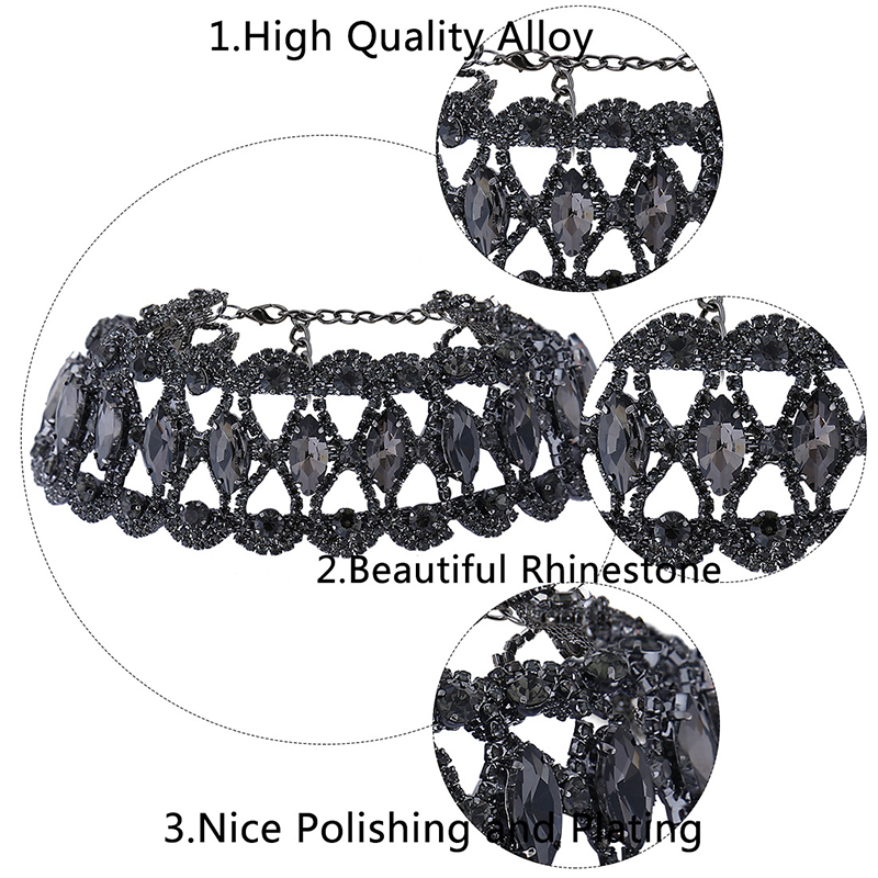 Luxury Hollow Flower Crystal Rhinestone Choker For Women Fashion Gold Silver Chain Necklace Wedding Jewelry For Party #95043
