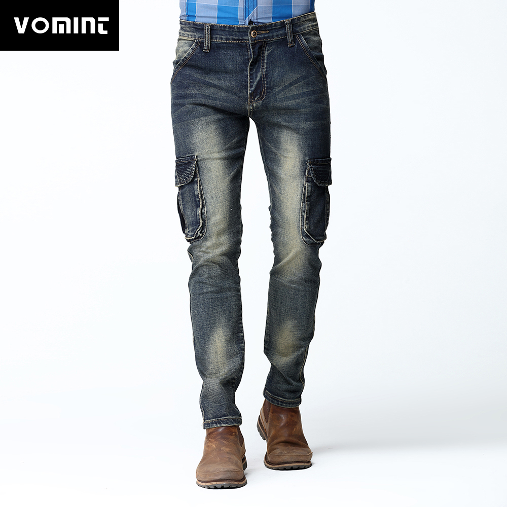 2017 New Mens Cargo Jean Pants Dark Washed Four Funtional Pockets Zipper Fly Slim Skinny Stretch Jeans Deep Blue V7C1J007