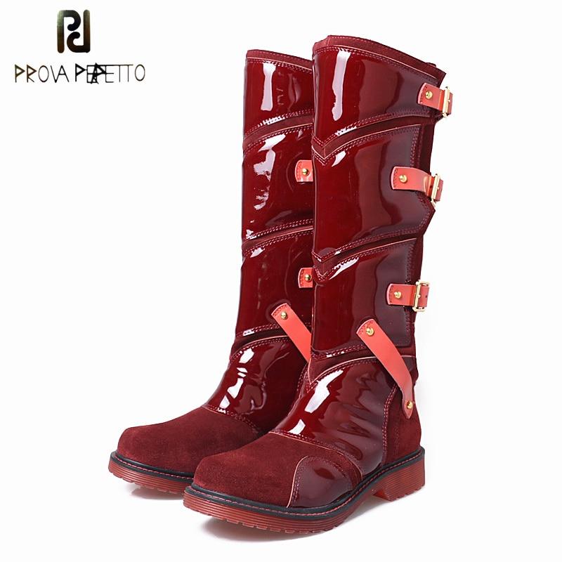 купить Prova Perfetto Patchwork Women Knee High Boots Genuine Leather Belt Buckle Comfortable Flat Rubber Shoes Woman High Botas Mujer по цене 12783.53 рублей