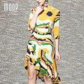 Amarillo naranja de impresión geométrica verano vestido de gasa media manga robe femme ropa mujer vestido de festa elbise LT429