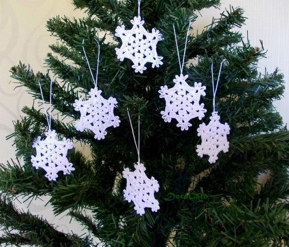 crochet christmas ornaments hanging christmas decorations white