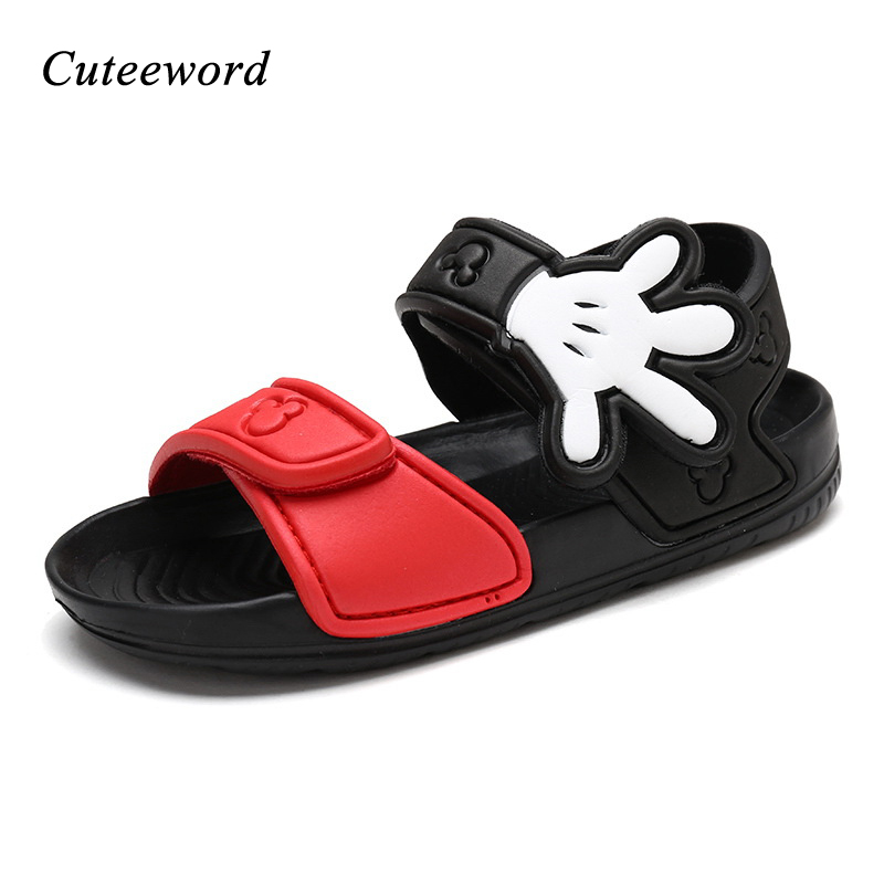 Children Beach Shoes Summer Breathable Boys Shoes Hollow Cartoon Kids Sandals Non-slip Flat Soft Sole Casual Sandals Girls Shoes