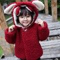 Мультфильм Cute Девушки Зимнее Пальто, Розовый Синий Красный Детские Дети Зимние Куртки, Девушки Детей Одежда Детская одежда с капюшоном