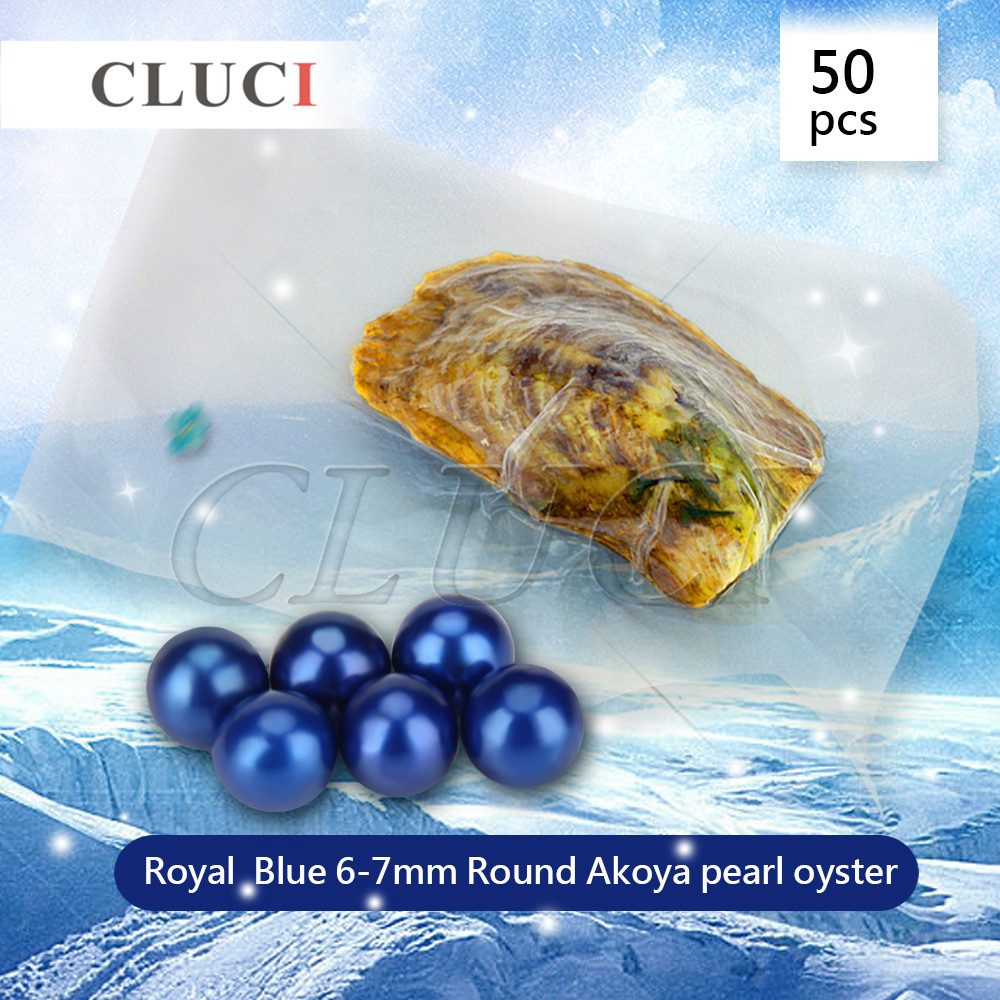 CLUCI 50pcs Royal Blue round akoya pearl in oyster 6-7mm AAA grade, Saltwater pearls For DIY fashion Jewelry Making Craft making cluci free shipping get 40 pearls from 20pcs 6 7mm aaa blue round akoya oysters twins pearls in one oysters