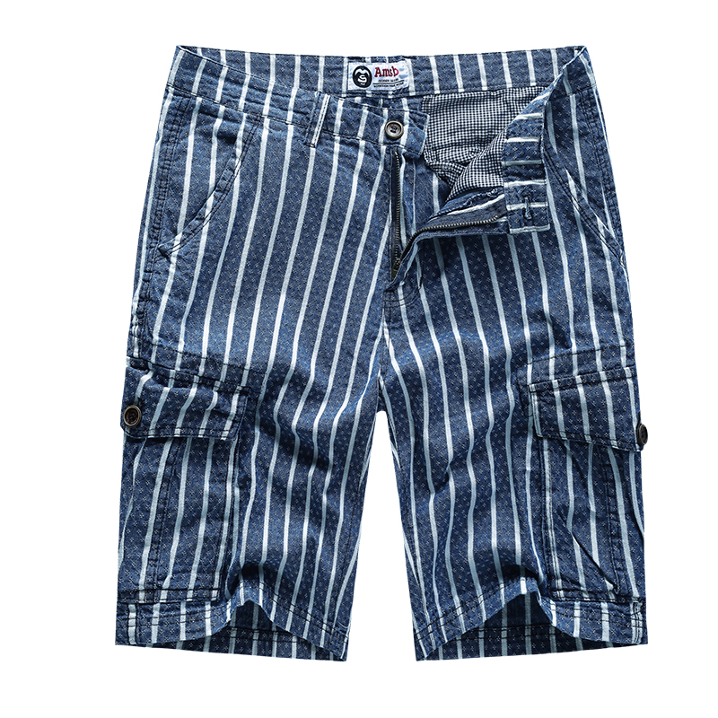 Cowboy Man Shorts Cotton Forget The Time Stripe Summer Fashion Trousers Casual Pockets Mens Clothing Mens Shorts Blue 1727