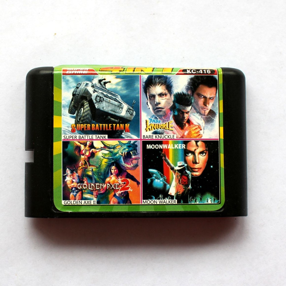 4in1 Super Battle Tank+Bare Knuckle+Golden Axe II+Moon Walker 16 bit SEGA MD Game Card For Sega Mega Drive For Genesis
