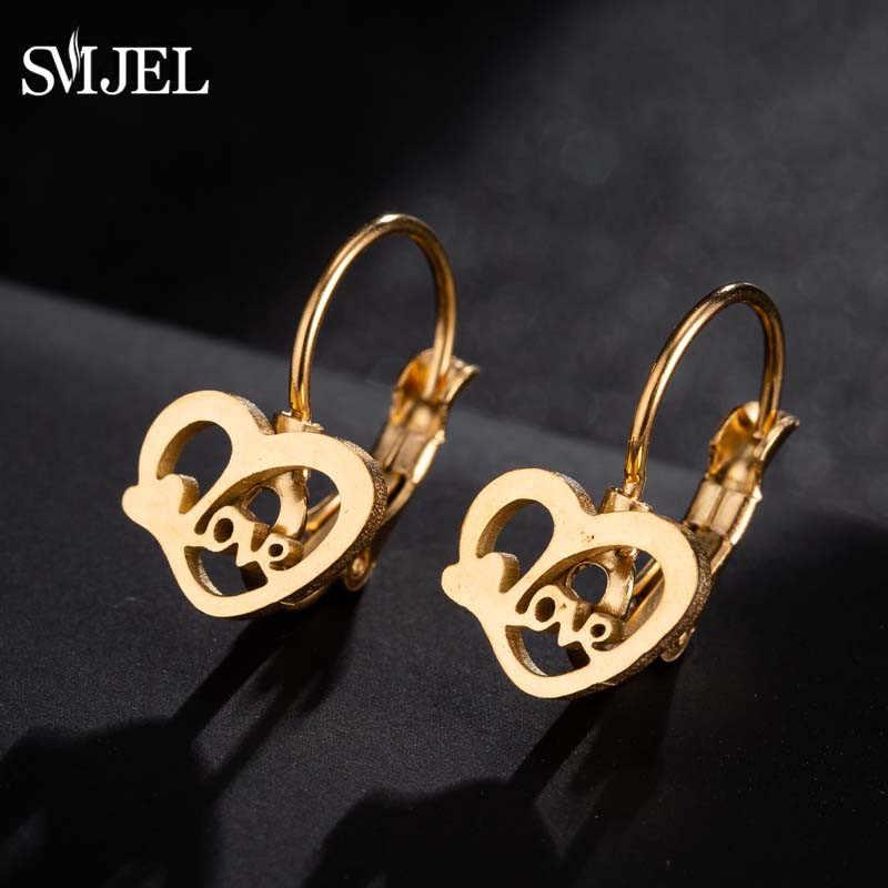 SMJEL 2019 ゴールドカラーのステンレス鋼スタッドピアスハートウサギ木ラブレター形状女性の古典的なイヤリング宝石類のギフト