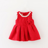 2016 New Autumn Dress Baby Girl Dress Princess Dress 100 Cotton Soft Red Lace Pearl Necklace