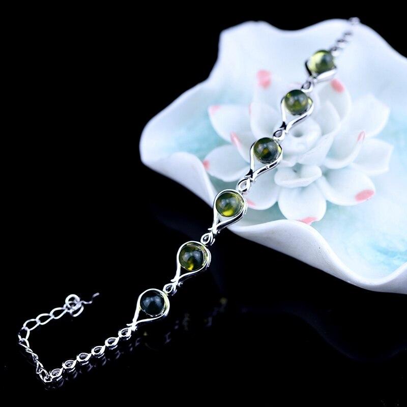 d0df2e36259c 925 Plata de Ley 100% México pulseras de ámbar natural diseño de moda  simple pulseras elegantes ...