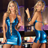 Women Sexy PU Leather Mini Dress Female Sexy Nightwear Night Club Wear Pole Dancing Temptation Sexy