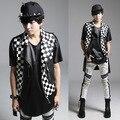 Men's Hip Hop Slim Fit Vests PU Leather Turndown Collar Waistcoat Side Zipper Design Motorcycle Vest Men Punk costume
