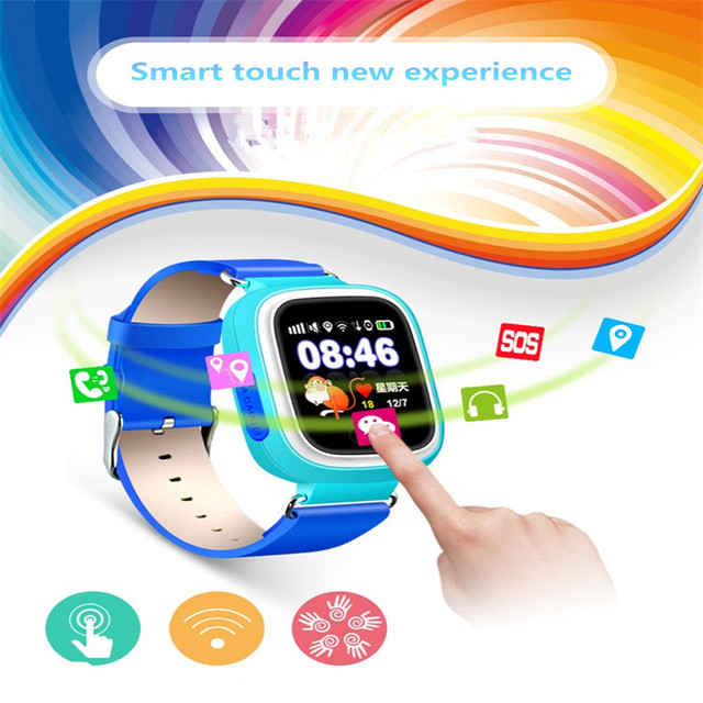 Smart watch crianças q90 touch screen wifi chamada sos localizador de posicionamento gps dispositivo rastreador kid safe anti perdido monitor