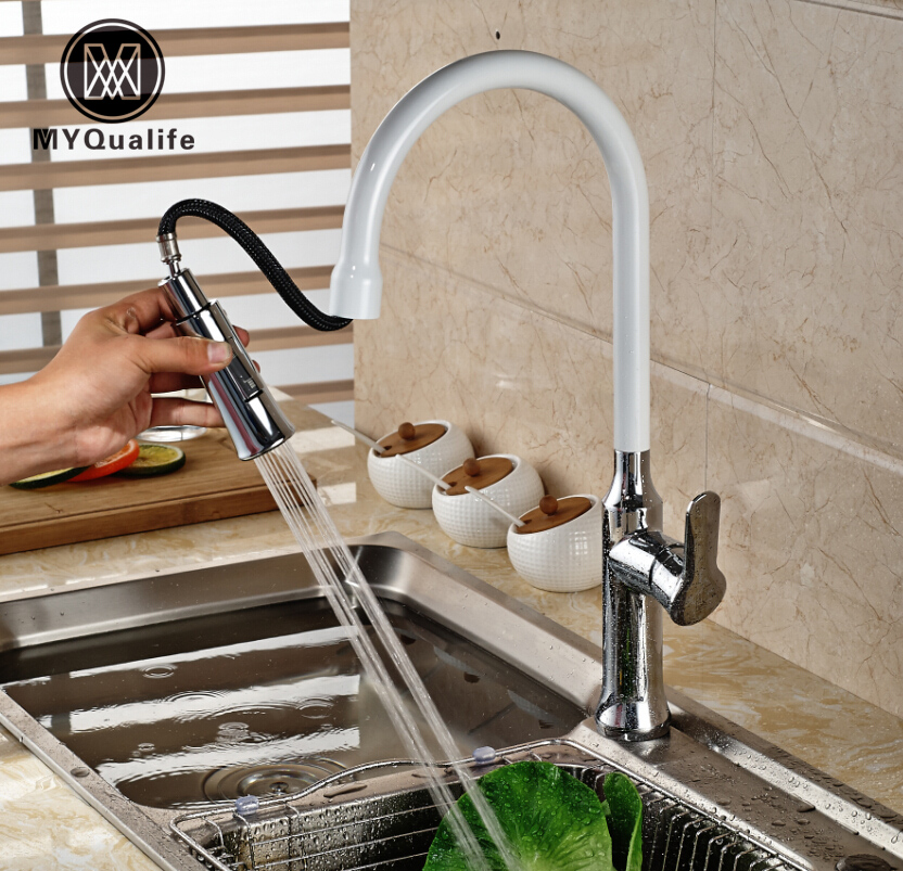 Chrome & White Single Handle Pull Out Dual Sprayer Nozzle Kitchen Sink Mixer Faucet Deck Mount One Hole Water Taps swanstone dual mount composite 33x22x10 1 hole single bowl kitchen sink in tahiti ivory tahiti ivory