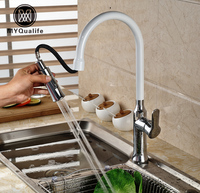 Chrome White Single Handle Pull Out Dual Sprayer Nozzle Kitchen Sink Mixer Faucet Deck Mount One