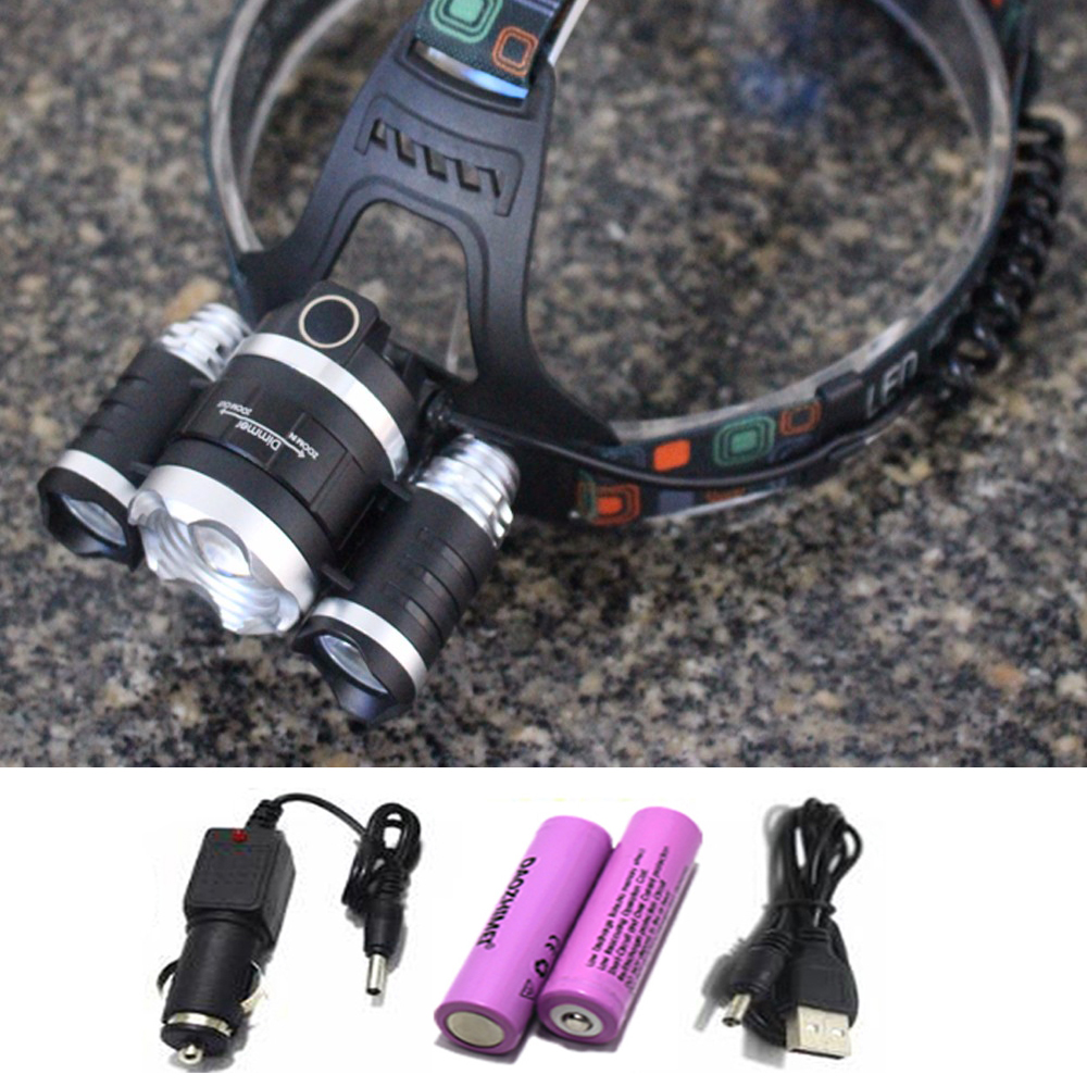13000LM LED L2+2R5 Headlamp Headlight Head Lamp lighting Light Flashlight Torch Lantern Fishing+18650 battery+Car USB Charger ...