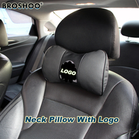 BROSHOO Car Neck Pillow Auto Seat Headrest Genuine Leather Pillows With Car Brand Logo 2pcs Lot