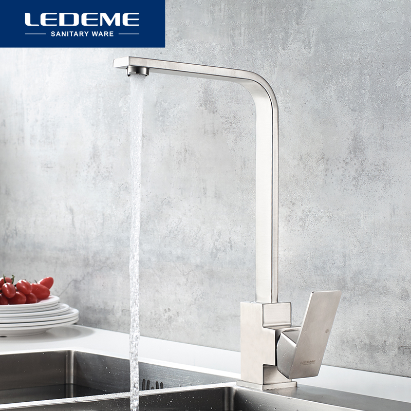 LEDEME Kitchen Faucets Stainless Steel Kitchen Sinks Faucet 360 Degree Rotating Flat Kitchen Mixer Tap Cold And Hot Water L74033