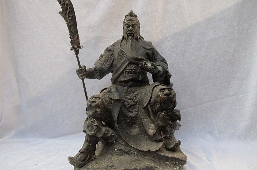 Chinese Classical Bronze Martial Dragon Guan Gong Warrior Buddha Guan Yu Statue