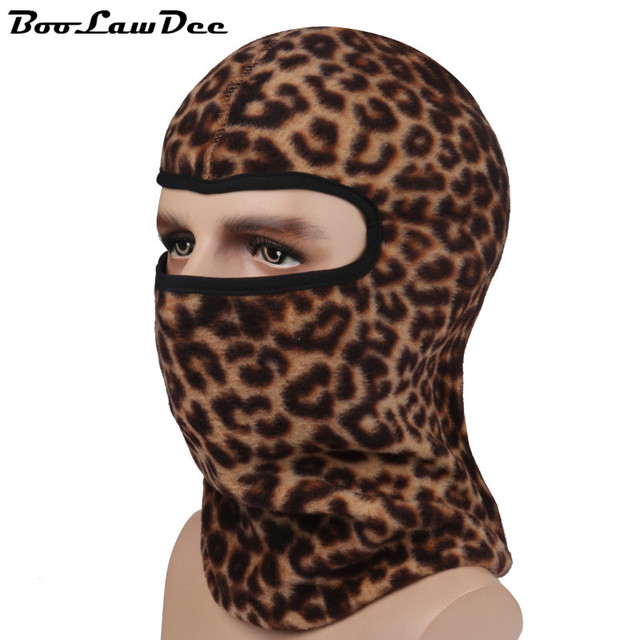 BooLawDee High quality winter warming beanies hat leopard print headgear multifunction cap comfortable breathable thermal 4F013