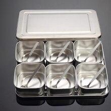 Японский набор коробок для приправ из нержавеющей стали, креативная банка для приправ, 6 сеток, 8 сеток, дополнительно с крышкой, кухонная коробка для специй Q221