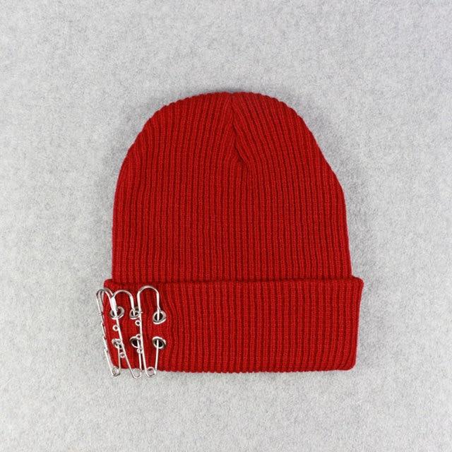 Autumn Winter Pin Ring Beanie Hats for Men Women Hip Hop Knit Skull Cap  Dark Red 3d3ee0f3db