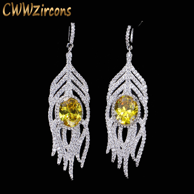 Cwwzircons Sparkling Cz Crystal And Yellow Stone Long Feather Tel Drop Earrings 925 Sterling Silver Jewelry