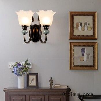 American country blue creative ceramics wall lamp living room corridor bedroom bedside lamp European style simple LED wall lamp