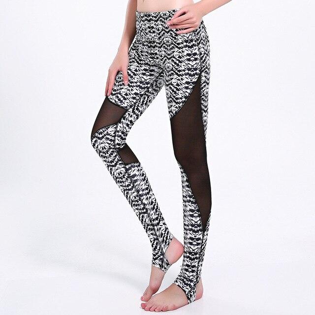 Fitness saludable Trenca trencker estribo negro blanco Palazzo onda tight  Sport fitness leggings Yoga femenino Correr 0ae5dd7b4ce4