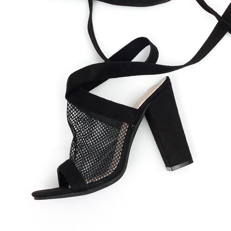 ff665c33798 Breathable Mesh Women Heels Fashion Lace Up Pumps Shoes Women High Heels  Sandals Peep Toe Casual Summer Heels Femme