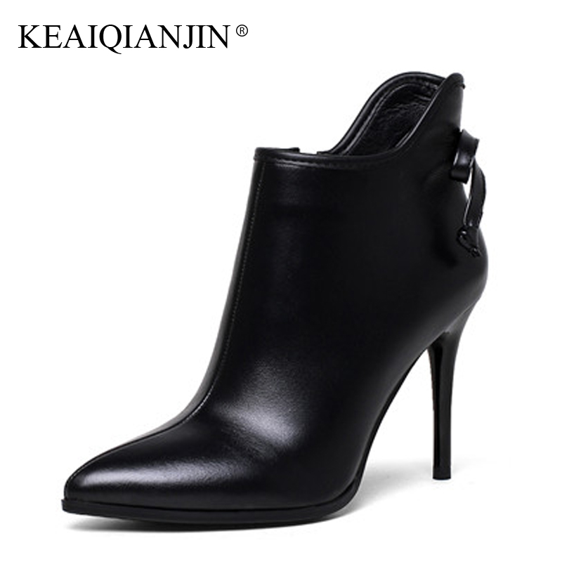 KEAIQIANJIN Woman Pointed Toe Boots Black Beige Plus Size 33 - 43 High Heel Boots Autumn Winter Genuine Leather Ankle Boots 2017 keaiqianjin woman rivet motorcycle boots autumn winter bottine plus size 33 43 shoes black red genuine leather ankle boots