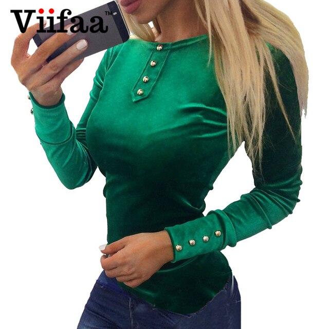 Viifaa 2017 Velvet Blouse Shirt Women Long Sleeve Vintage Buttons Tops Spring Autumn Pink Casual Ladies Blouses