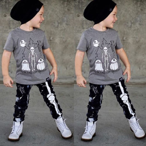 af57b05aa0c4 Detail Feedback Questions about New Kid Boy Halloween Skull Clothes ...
