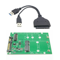 Cablecc USB 3.0 to SATA 22pin 2.5 Hard Disk to 2 in 1 Combo 2 Lane M.2 NGFF & mSATA SSD Adapter Converter