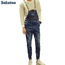 Sokotoo мужская повседневная джинсовые комбинезоны Мода Корейский стиль царапины комбинезоны Рваные джинсы